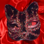 artisanat dart animaux art animalier chat papier mache venise : Masque de chat (camaieu de rouges)